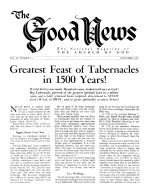 Greatest Feast of Tabernacles in 1500 Years! Good News Magazine November 1953 Volume: Vol III, No. 10