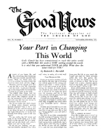 SALVATION is EDUCATION Good News Magazine November-December 1954 Volume: Vol IV, No. 9