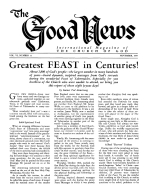 Greatest FEAST in Centuries! Good News Magazine November 1957 Volume: Vol VI, No. 11