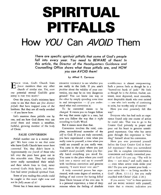 SPIRITUAL PITFALLS How YOU Can AVOID Them