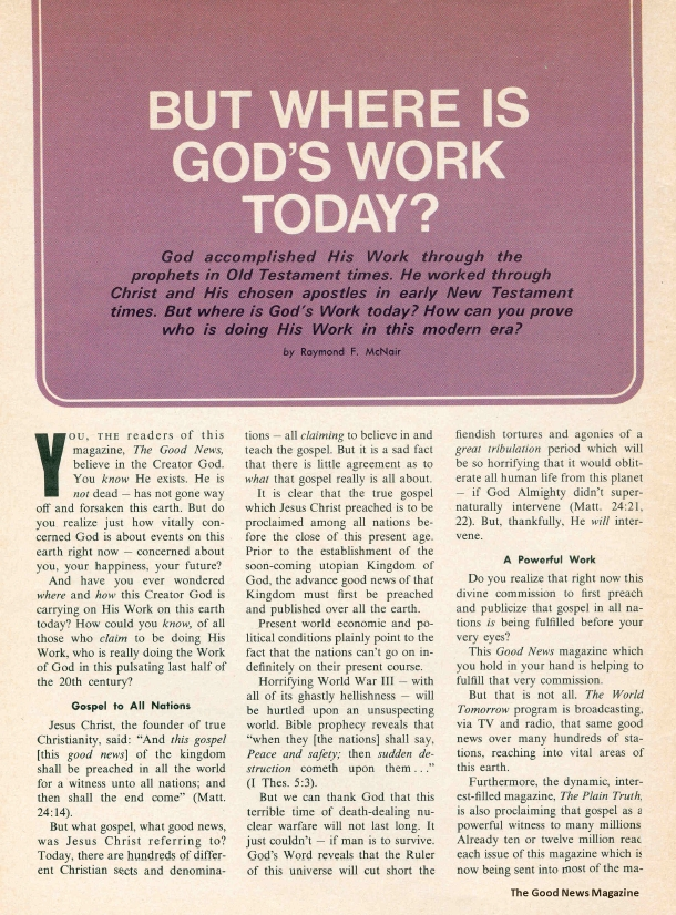 But Where Is God's Work Today?