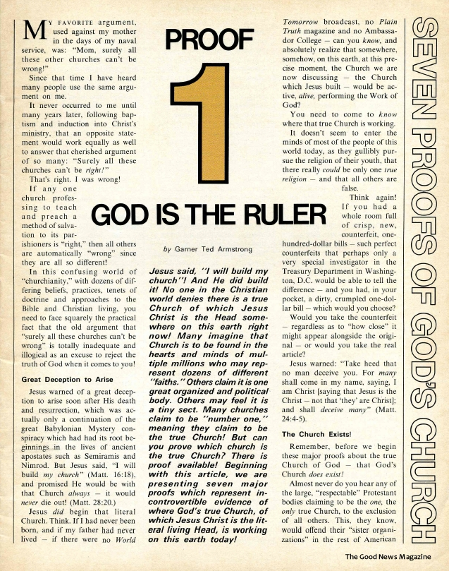 Seven Proofs of God's Church: Proof 1 - God Is the Ruler