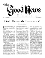 God Demands Teamwork! Good News Magazine December 1953 Volume: Vol III, No. 11