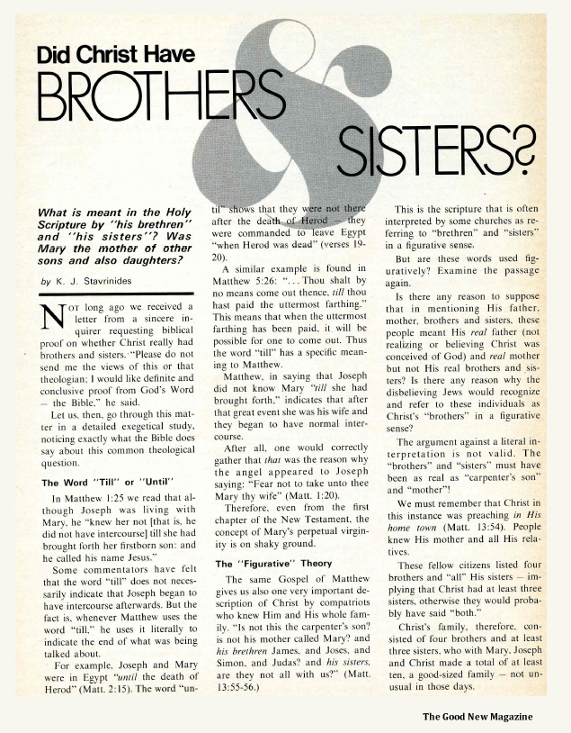 Did Christ Have Brothers and Sisters?