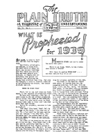 WHAT IS PROPHESIED for 1939! Plain Truth Magazine January 1939 Volume: Vol IV, No.1 Issue: