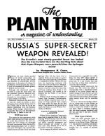 RUSSIA'S SUPER-SECRET WEAPON REVEALED! Plain Truth Magazine January 1956 Volume: Vol XXI, No.1 Issue:
