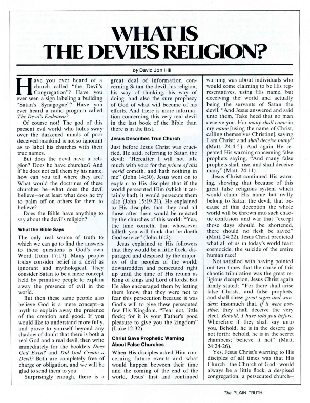 WHAT IS THE DEVILS RELIGION?