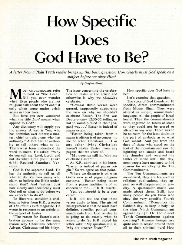 How Specific Does God Have to Be?