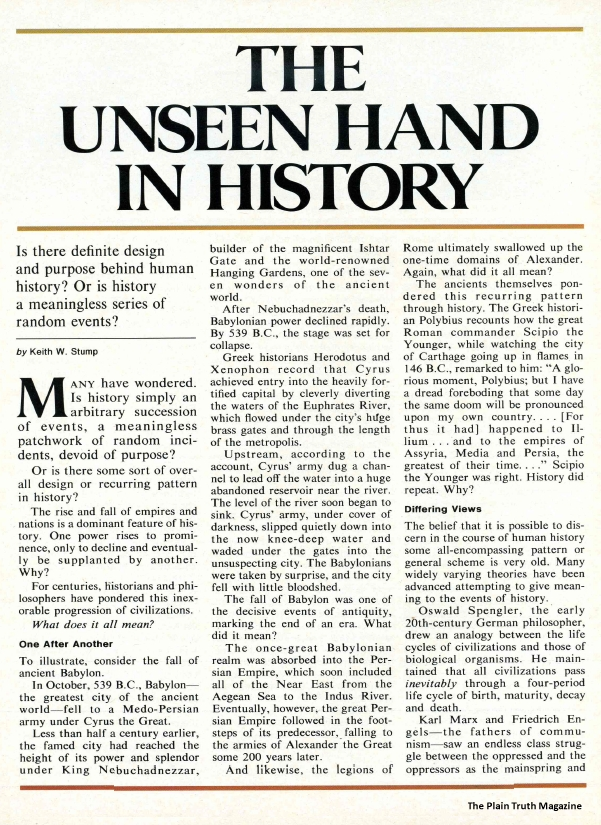 THE UNSEEN HAND IN HISTORY