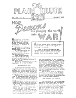 HOW Demons are pluging the world into WAR! Plain Truth Magazine February 1938 Volume: Vol III, No.2 Issue: