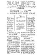 WHERE AND HOW THE WORLD WAR WILL START Plain Truth Magazine February 1939 Volume: Vol IV, No.2 Issue: