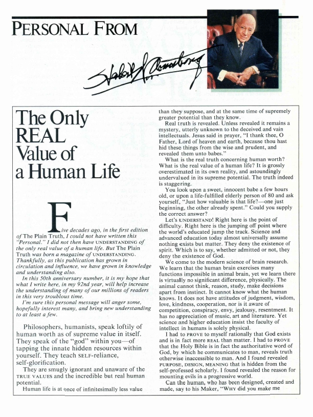 The Only REAL Value of a Human Life