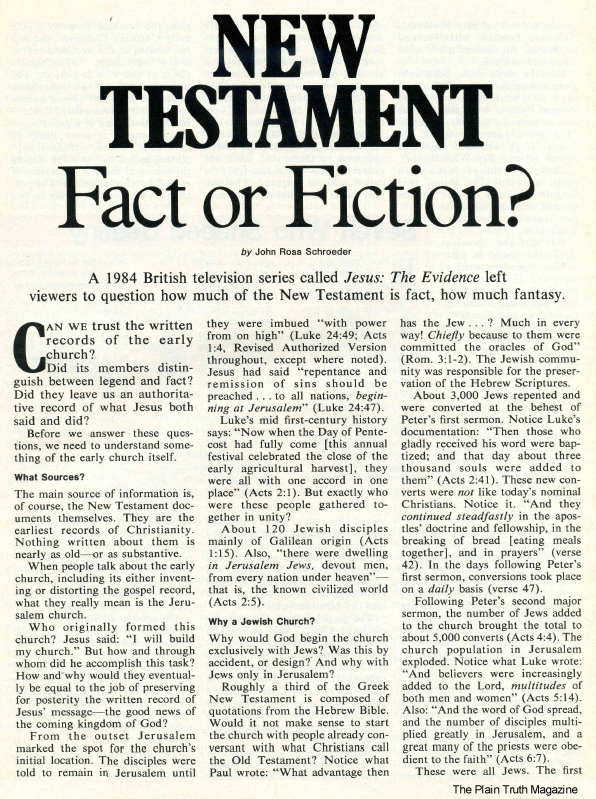 NEW TESTAMENT Fact or Fiction?