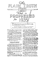 What is PROPHESIED for 1935! Plain Truth Magazine March 1935 Volume: Vol II, No.1 Issue: