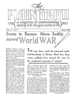Events in Europe Move Swiftly toward World WAR! Plain Truth Magazine March 1938 Volume: Vol III, No.3 Issue: