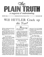 Will HITLER Crack up this Year? Plain Truth Magazine March-April 1943 Volume: Vol VIII, No.1 Issue: