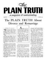 The PLAIN TRUTH About Divorce and Remarriage Plain Truth Magazine March 1948 Volume: Vol XIII, No.1 Issue: