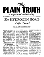 The HYDROGEN BOMB Shifts Trend Plain Truth Magazine March 1950 Volume: Vol XV, No.2 Issue:
