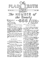 The NUMBER of the Beast 666! Plain Truth Magazine April 1938 Volume: Vol III, No.4 Issue: