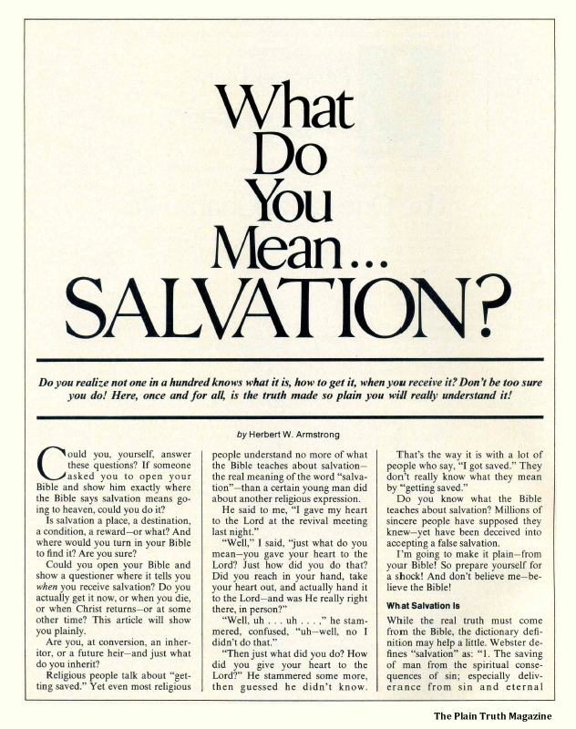 What Do You Mean...SALVATION? Part 1