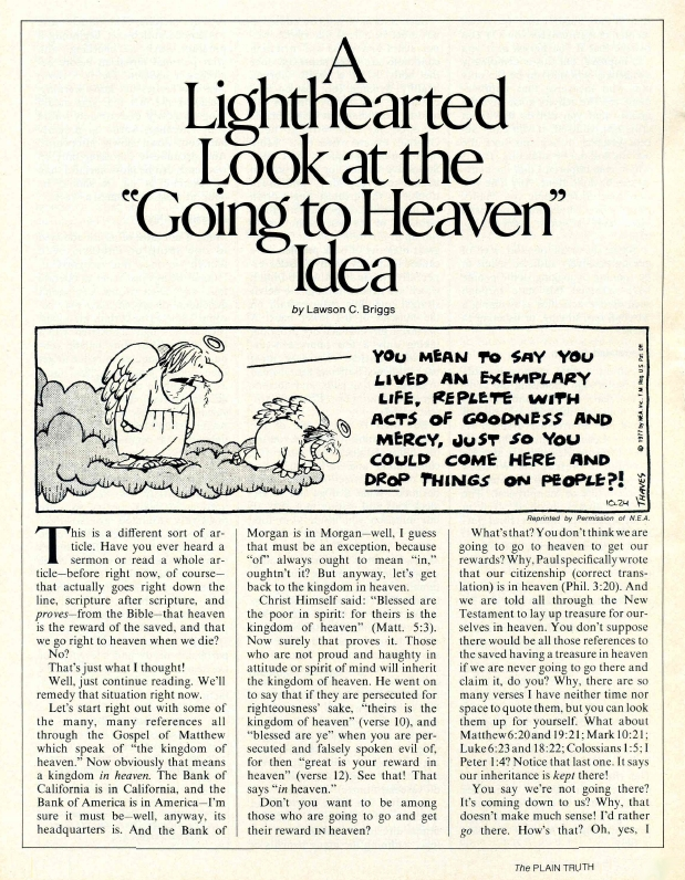 A Lighthearted Look at the Going to Heaven Idea