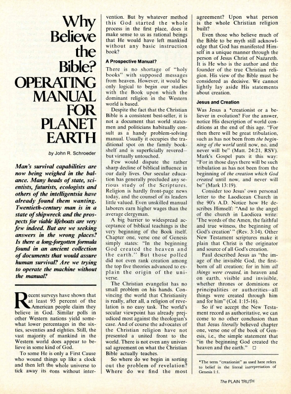 Why Believe the Bible? OPERATING MANUAL FOR PLANET EARTH