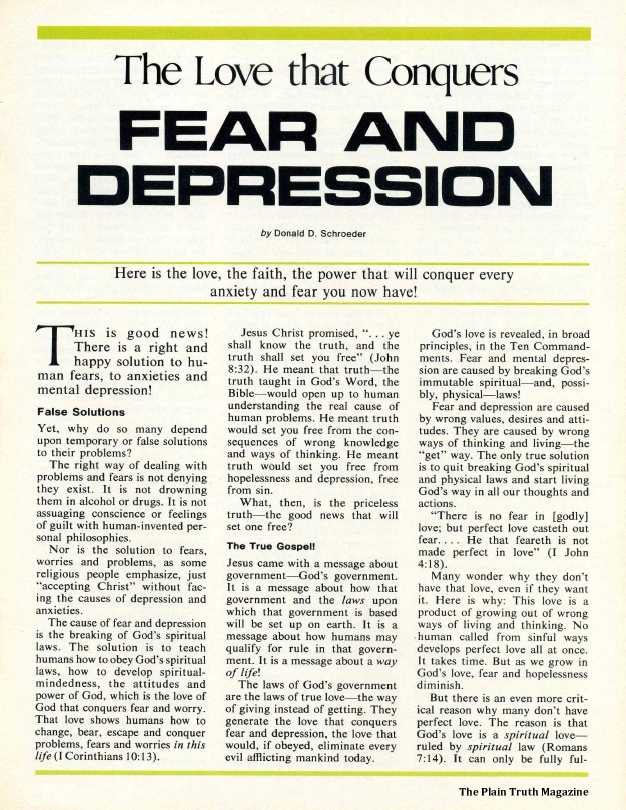 The Love that Conquers FEAR AND DEPRESSION
