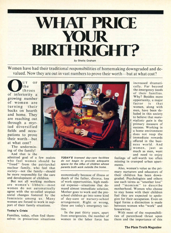WHAT PRICE YOUR BIRTHRIGHT?