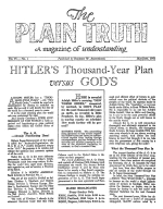The WAR, at the moment, in Prophecy Plain Truth Magazine May-June 1941 Volume: Vol VI, No.1 Issue: