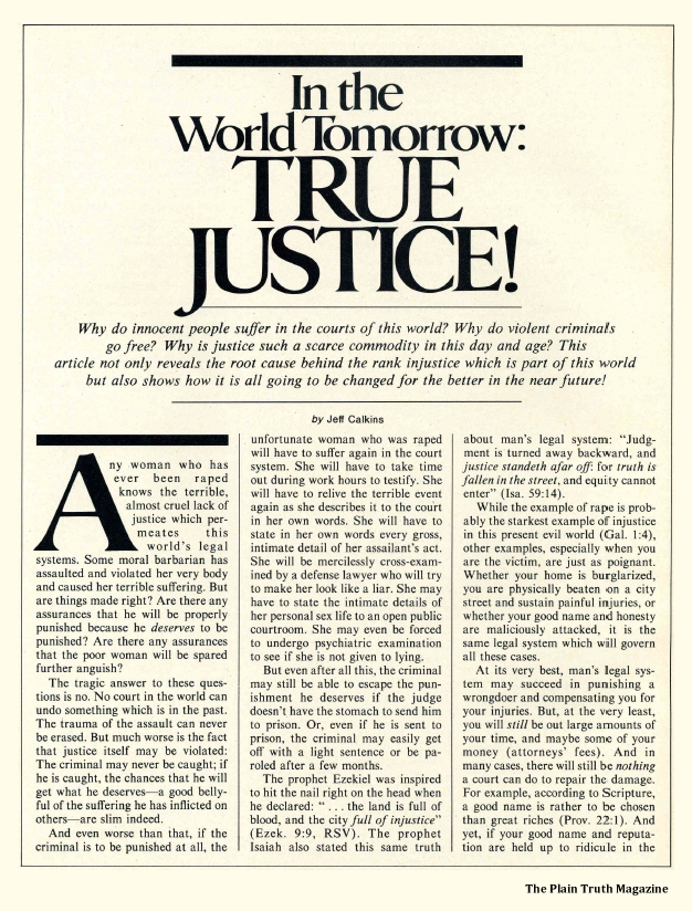 In the World Tomorrow: True Justice!