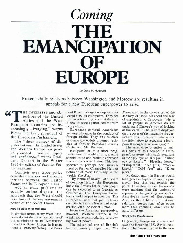 Coming THE EMANCIPATION OF EUROPE