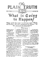 What is Going to Happen! Plain Truth Magazine June-July 1934 Volume: Vol I, No.5 Issue: