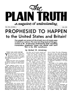 PROPHESIED TO HAPPEN to the United States and Britain! - Installment 5 Plain Truth Magazine June 1954 Volume: Vol XIX, No.5 Issue: