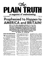Prophesied to Happen to AMERICA and BRITAIN! Plain Truth Magazine June 1955 Volume: Vol XX, No.5 Issue: