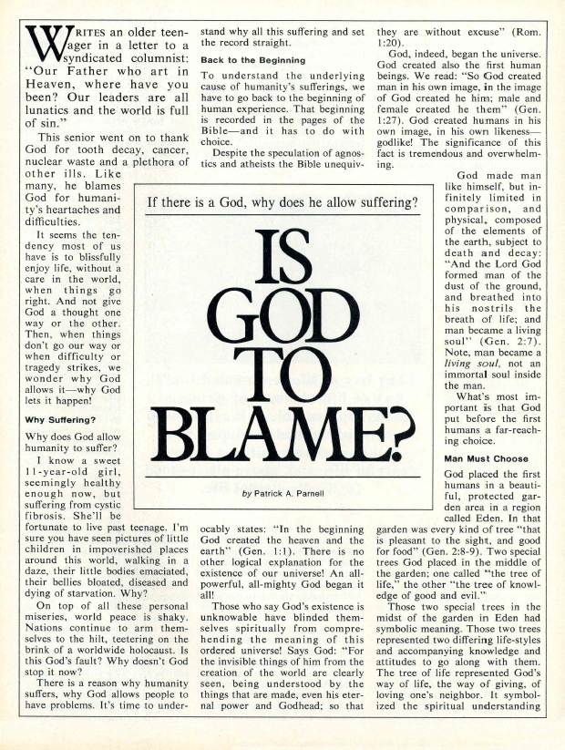 If there is a God, why does he allow suffering? IS GOD TO BLAME?