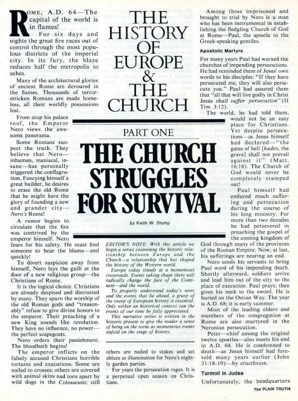 THE HISTORY OF EUROPE & THE CHURCH Part One THE CHURCH STRUGGLES FOR SURVIVAL