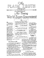 The Coming World Super-Government Plain Truth Magazine July 1935 Volume: Vol II, No.2 Issue: