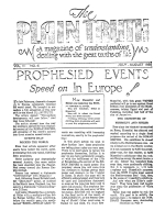 The TRUTH about Israel - Chapter II Plain Truth Magazine July-August 1938 Volume: Vol III, No.6 Issue:
