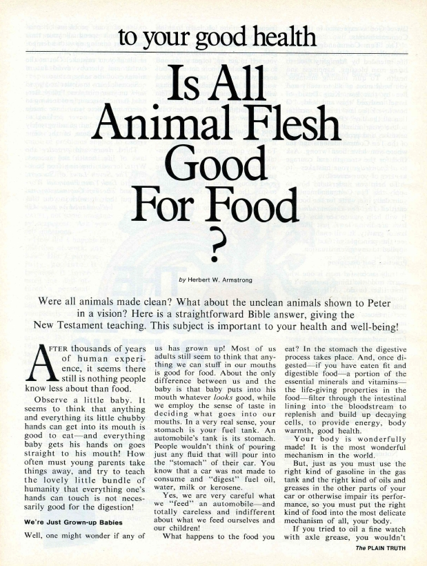 To Your Good Health: Is All Animal Flesh Good For Food?
