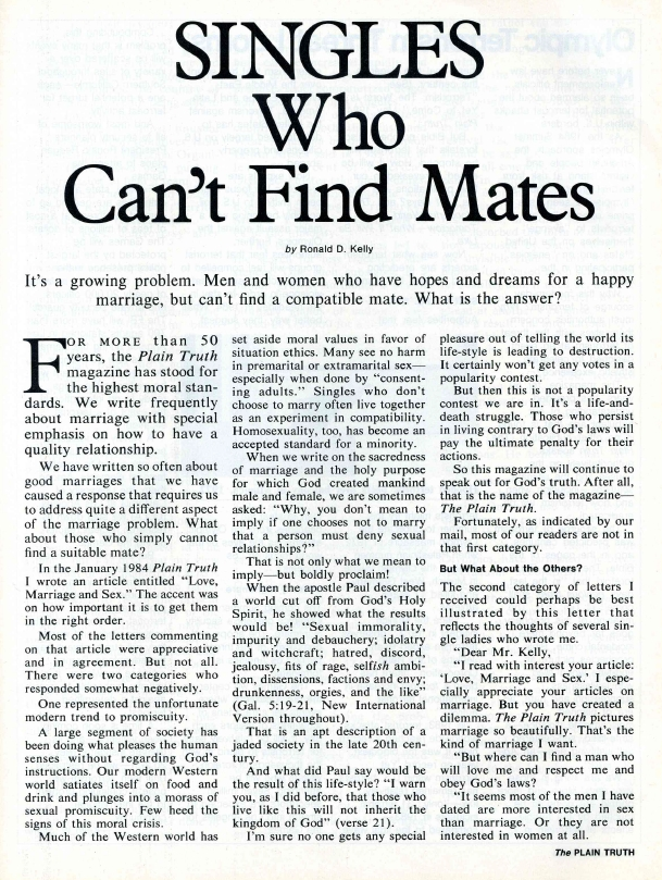 SINGLES Who Can't Find Mates