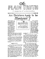 World War may come within six weeks! Plain Truth Magazine August 1939 Volume: Vol IV, No.4 Issue: