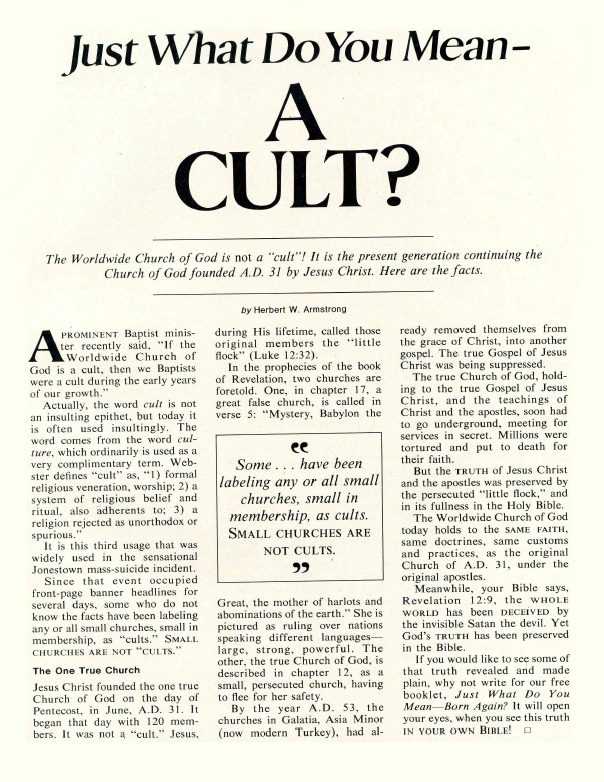 Just What Do You Mean - A CULT?