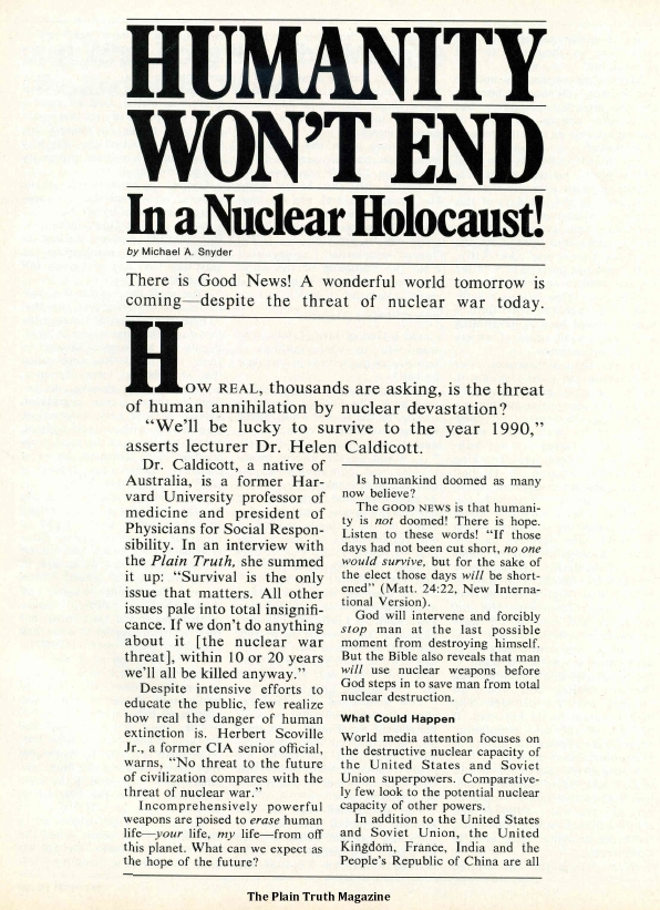 HUMANITY WON'T END In a Nuclear Holocaust!