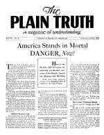 WHY Does God Permit this War? Plain Truth Magazine September-October 1941 Volume: Vol VI, No.2 Issue:
