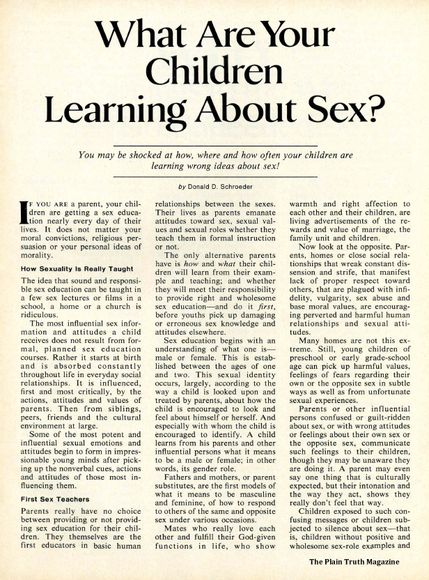 What Are Your Children Learning About Sex?