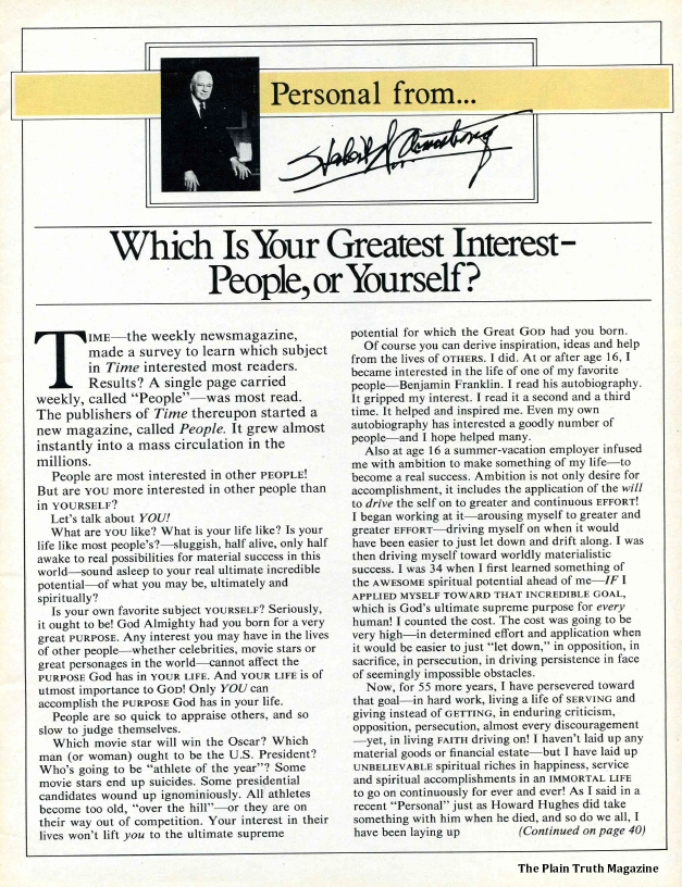 Which Is Your Greatest Interest - People, or Yourself?