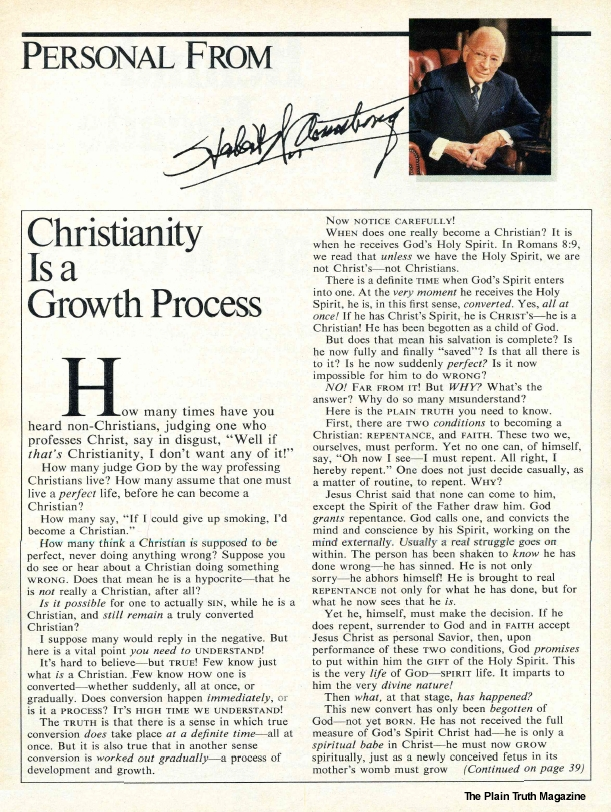 Christianity Is a Growth Process