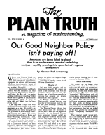 CATASTROPHIC EVENTS soon to bring END OF THIS AGE! Plain Truth Magazine October 1954 Volume: Vol XIX, No.8 Issue: