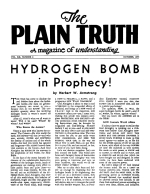 HYDROGEN BOMB in Prophecy! Plain Truth Magazine October 1955 Volume: Vol XX, No.8 Issue: