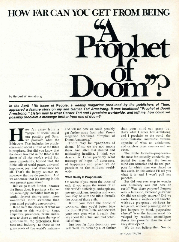 HOW FAR CAN YOU GET FROM BEING A Prophet of Doom?